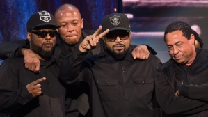 Members of N.W.A (left to right) MC Ren, Dr. Dre, Ice Cube and DJ Yella